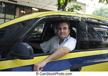 verticaal, van, een, taxi bestuurder, met, taxi