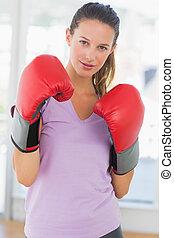 verticaal, van, een, vastberaden, vrouwlijk, bokser