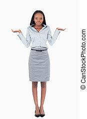 verticaal, van, een, verward, businesswoman