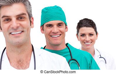 verticaal, van, een, vrolijk, medisch team