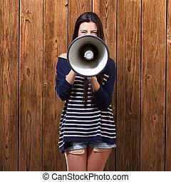 verticaal, van, een, vrouwlijk, met, megafoon