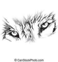 verticaal, van, een, wolf