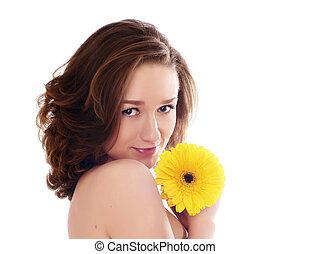 verticaal, van, fris, en, mooie vrouw, met, bloem, vrijstaand, op wit