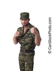 verticaal, van, gebaard, soldaat, het poseren, in, uniform
