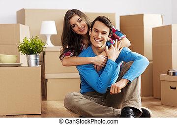 verticaal, van, gelukkig paar, in, nieuw huis