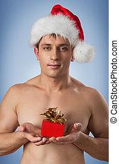 verticaal, van, gespierd, mannen, in, kerstman, pet
