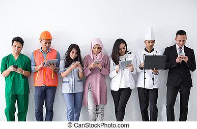 verticaal, van, gevarieerd, beroepen, met, moderne technologie