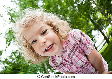 verticaal, van, het glimlachen, kind