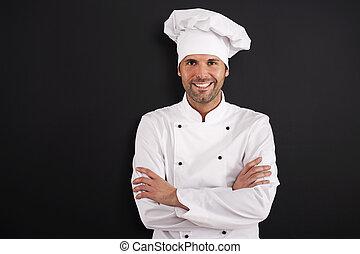 verticaal, van, het glimlachen, kok, in, uniform