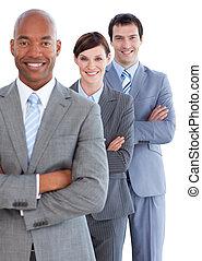 verticaal, van, jonge, handel team
