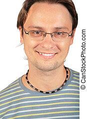 verticaal, van, jonge man, in, bril