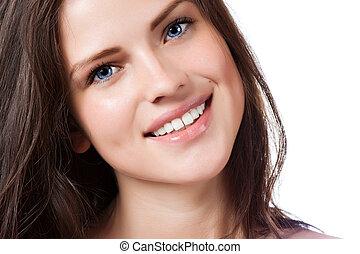 verticaal, van, jonge, mooie vrouw, met, perfect, glimlachen