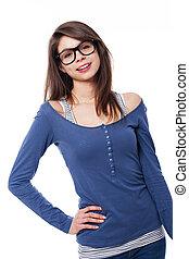 verticaal, van, jonge vrouw , het voeren bril