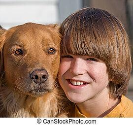 verticaal, van, jongen, en, dog