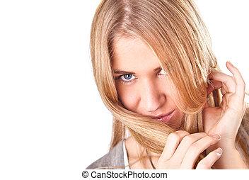 verticaal, van, luxueus, mooi, blonde, woman.