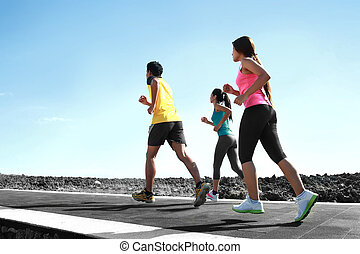 verticaal, van, mensen, rennende , samen