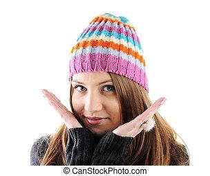 verticaal, van, mooi, bakvis, winter kleren