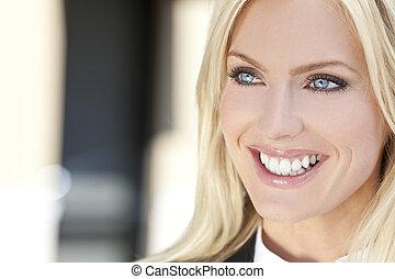 verticaal, van, mooi, jonge, blonde , vrouw, met, blauwe...