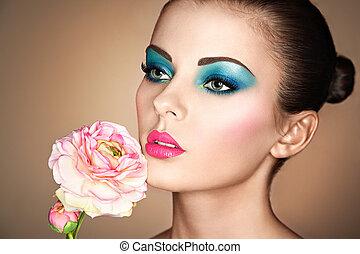 verticaal, van, mooi, jonge vrouw , met, bloemen