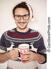 verticaal, van, mooi, man, in, kerstmistijd