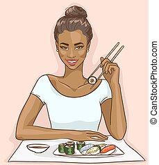 verticaal, van, mooi, zwarte vrouw