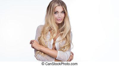 verticaal, van, natuurlijke , blonde, woman.