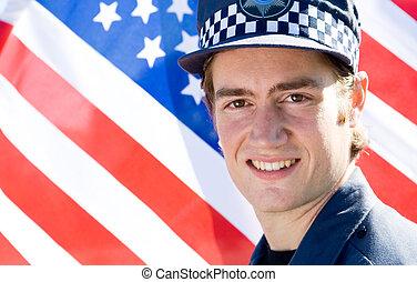 verticaal, van, politieagent