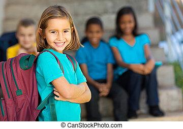 verticaal, van, preschool, meisje, met, schooltas