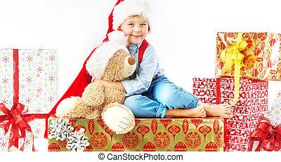 verticaal, van, schattig, jongetje, met, teddy beer