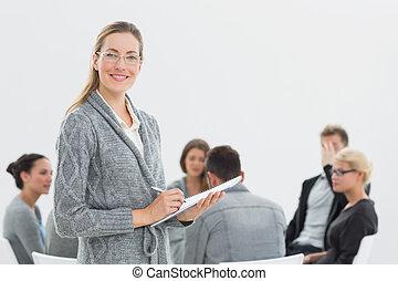 verticaal, van, therapist, met, groep, therapie, in, sessie, in, achtergrond