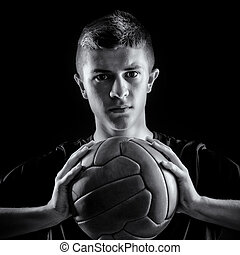 verticaal, van, voetballer