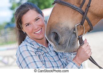 verticaal, van, vrouw, met, paarde