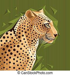 verticaal, vector, luipaard, illustratie