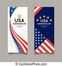 verticaal, vlag, vector, banieren, amerika, dag, onafhankelijkheid, vrolijke