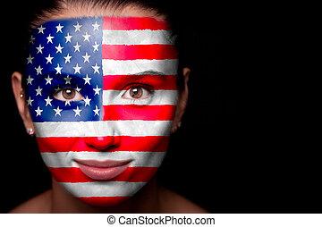 verticaal, vlag, vrouw, usa