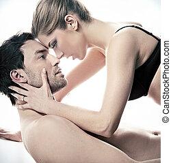 verticaal, vrolijke , getrouwd, scène, intieme