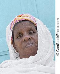 verticaal, vrouw, afrikaan
