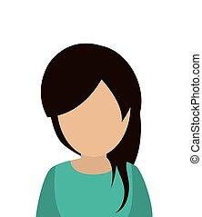 verticaal, vrouw, anoniem, pictogram