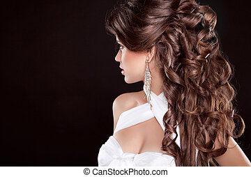 verticaal, vrouw, glamour, hair., lang, mooi, mode, hairstyle.