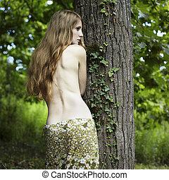 verticaal, vrouw, groene, romantische, bos
