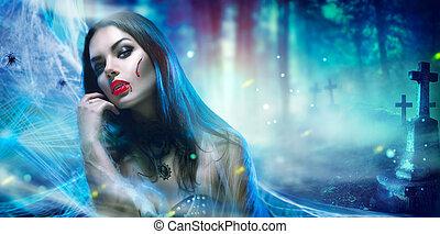 verticaal, vrouw, halloween, vampier