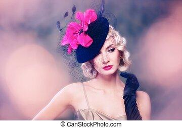 verticaal, vrouw, hoedje, retro, mooi en gracieus
