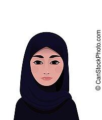 verticaal, vrouw, moslim, mooi