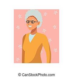 verticaal, vrouw, oud