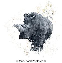 verticaal, watercolor, neushoorn