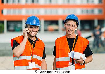 verticaal, werkmannen , bouwsector