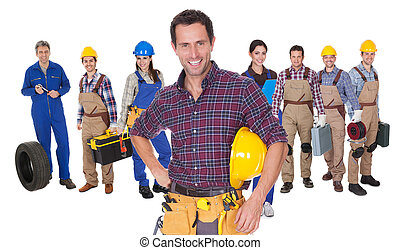 verticaal, werkmannen , industriebedrijven, vrolijke