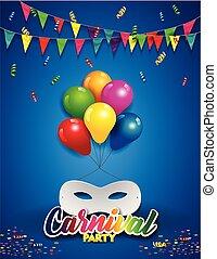 verticaal, witte , masker, met, ballons