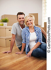 verticaal, woning, paar, aantrekkelijk, nieuw