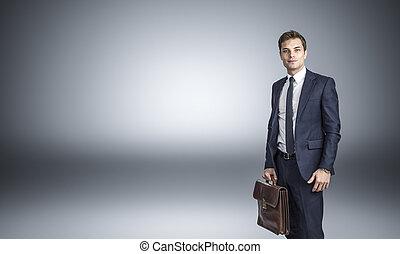 verticaal, zakenman, zeker